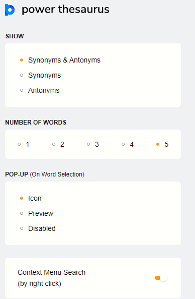 changing Power Thesaurus settings for displaying synonyms and antonyms