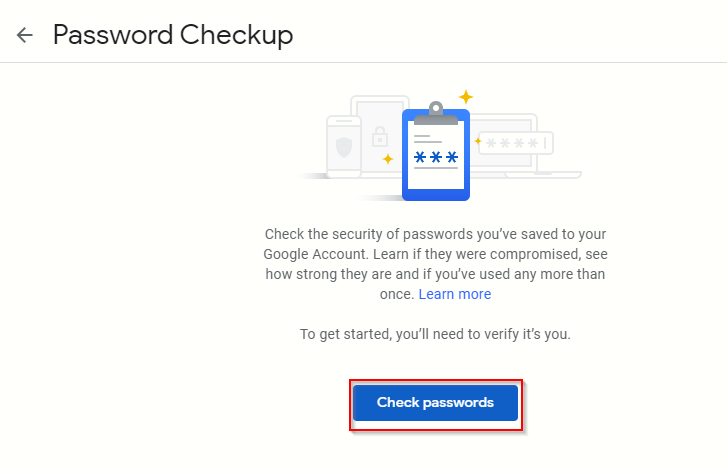 accessing the Google Password Checkup tool