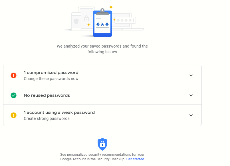 Password Checkup scanning complete for vulnerable and weak passwords