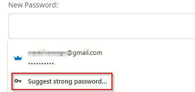 generating a strong secure password using Google Chrome
