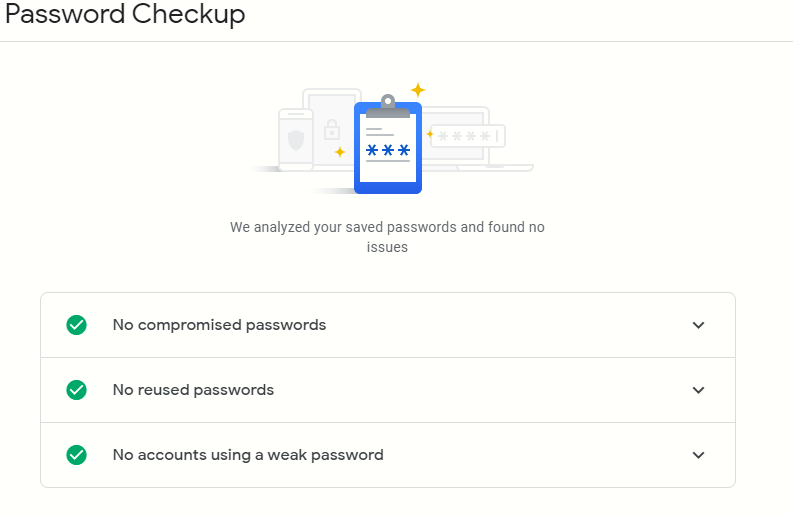 no password vulnerabilities found using the Password Checkup tool