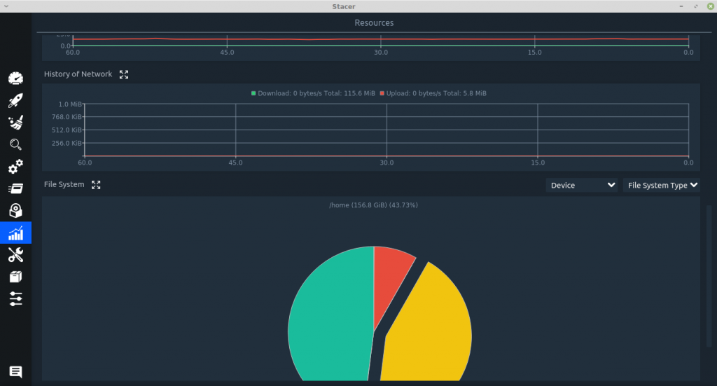network and file system usage displayed as line graph and pie chart in Stacer