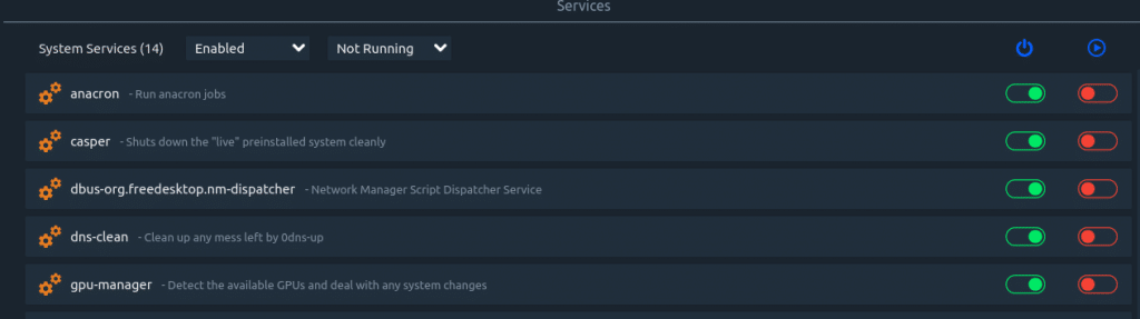 displaying a list of disabled services using Stacer
