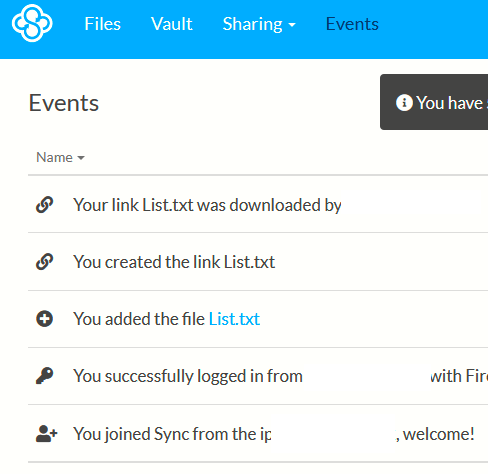 Events trail for file activities in Sync