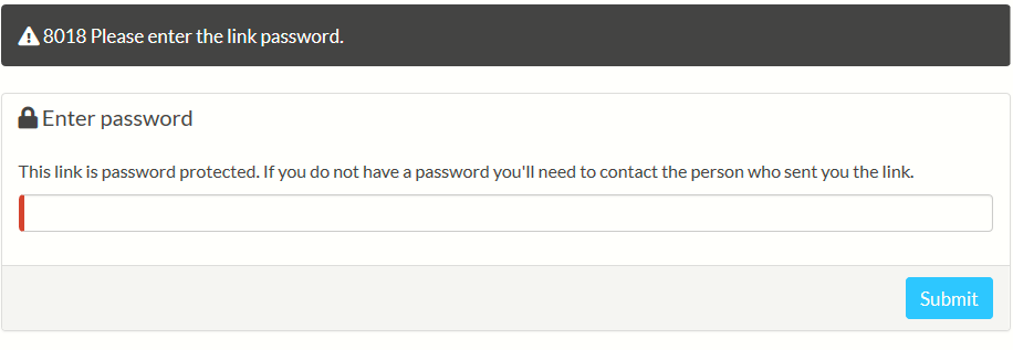 password prompt for the recipient to unlock the shared file link from Sync