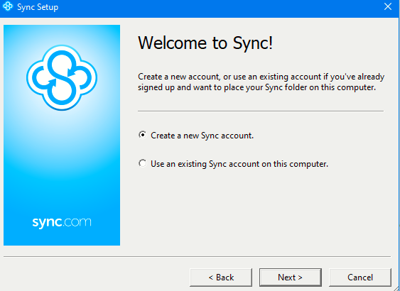 Sync desktop client setup screen