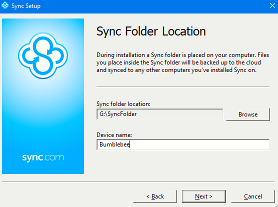 setup a sync folder and add a device name for Sync desktop client