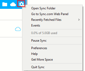 configuring Sync settings from the desktop client