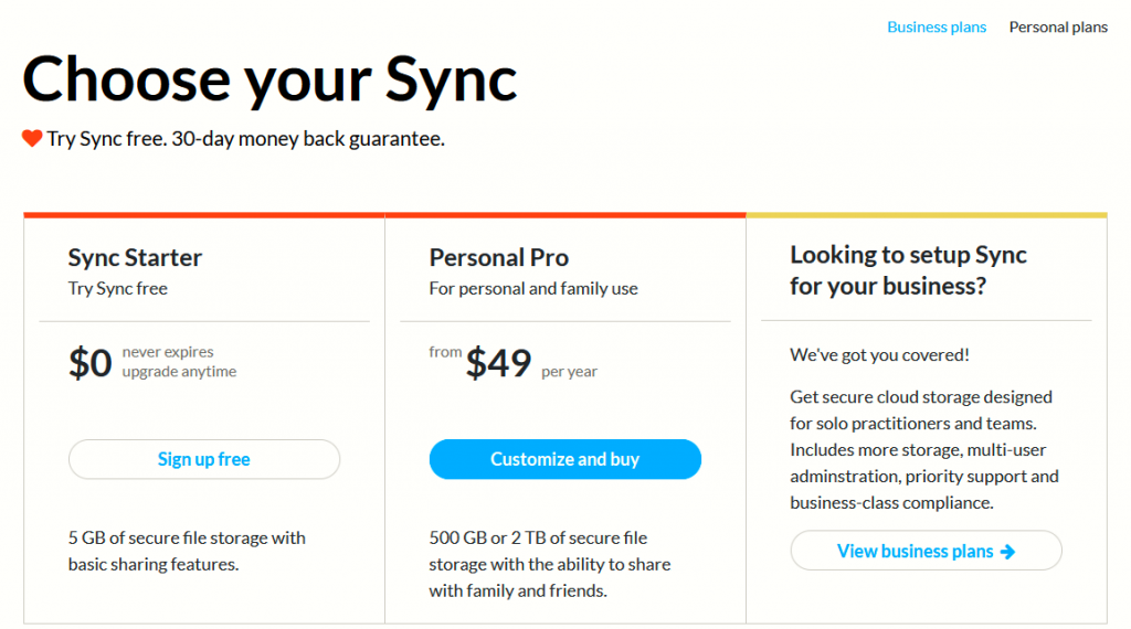 Sync personal plans pricing