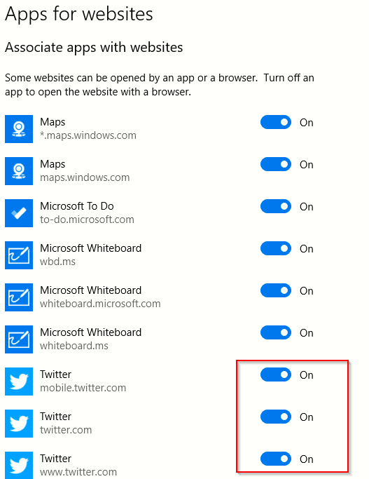 turn on or off associated apps with their websites in Windows 10