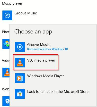 changing the default music player app in Windows 10