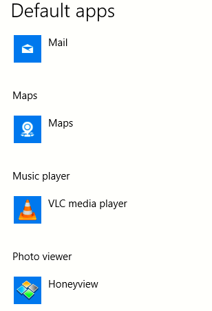 VLC player set as the default music player in Windows 10