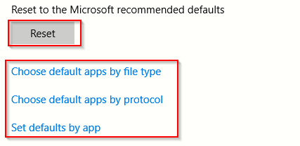 resetting apps to default settings and configuring them by file types, protocols and per app basis