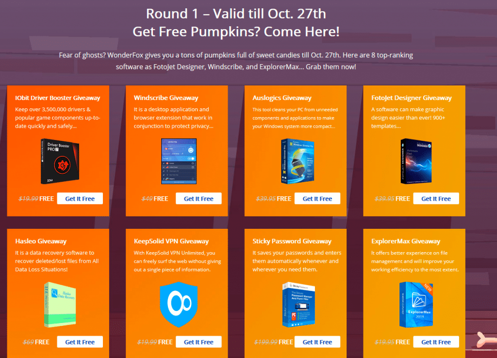 Round 1 of software giveaways from WonderFox 2019 Halloween Giveaway Carnival