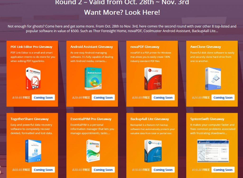 Round 2 of software products available for giveaway from WonderFox 2019 Halloween Giveaway Carnival