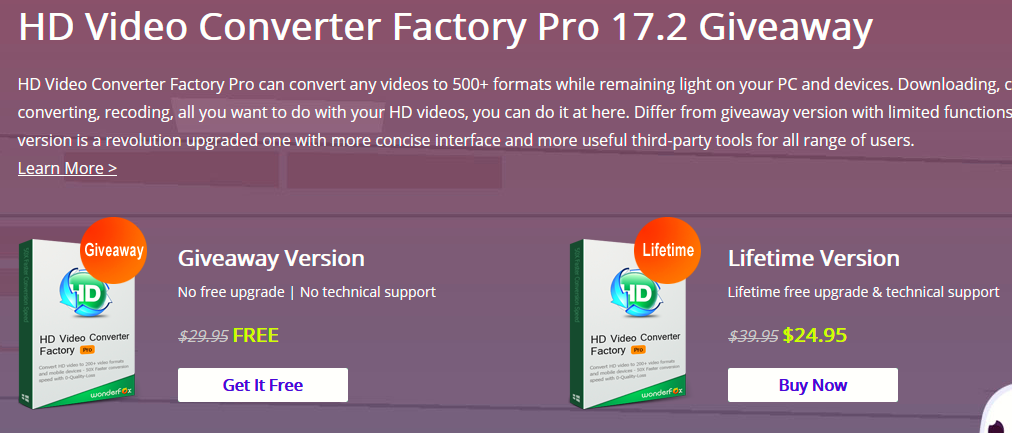 HD Video Converter Factory Pro giveaway download