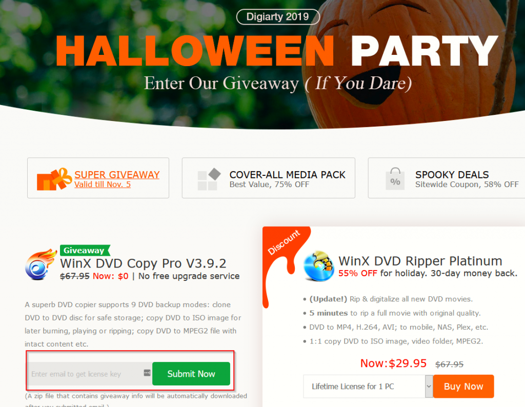 WinX DVD Copy Pro Halloween 2019 giveaway page