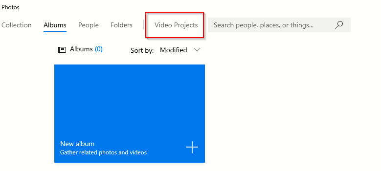 creating a new video project in Photo app for Windows 10