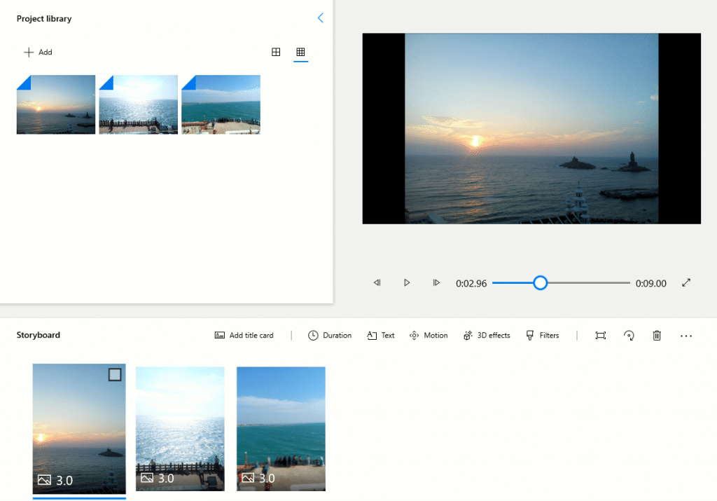 previewing placed photos and video clips from storyboard in Photo app for Windows 10