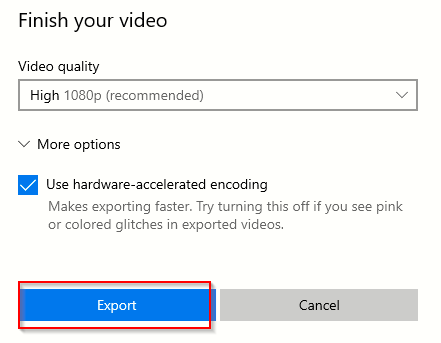 changing video quality settings before exporting it using Photo app for Windows 10