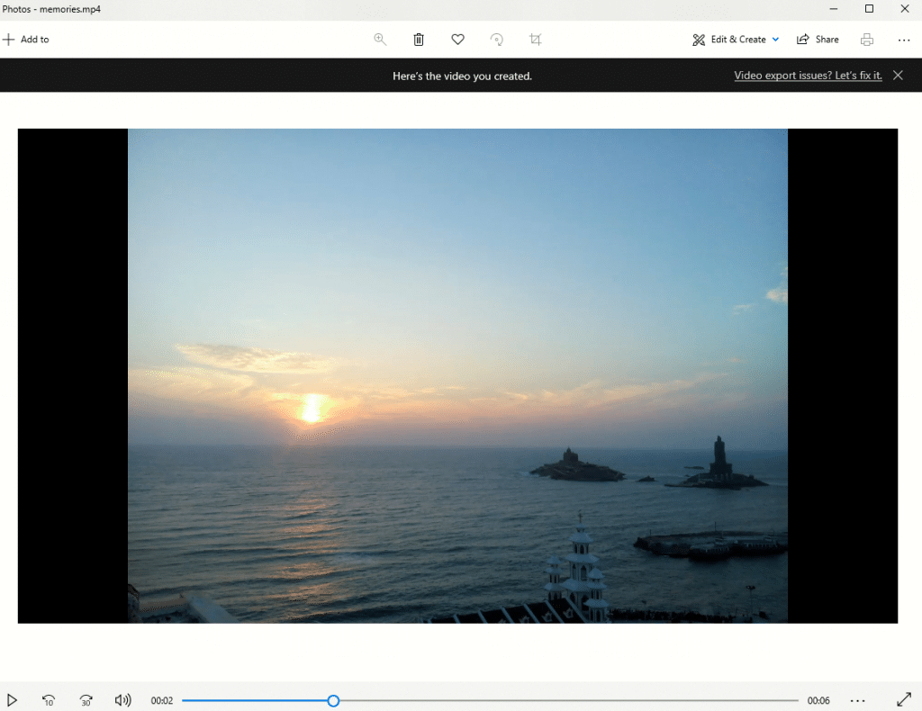 finshed video playback using Photo app for Windows 10
