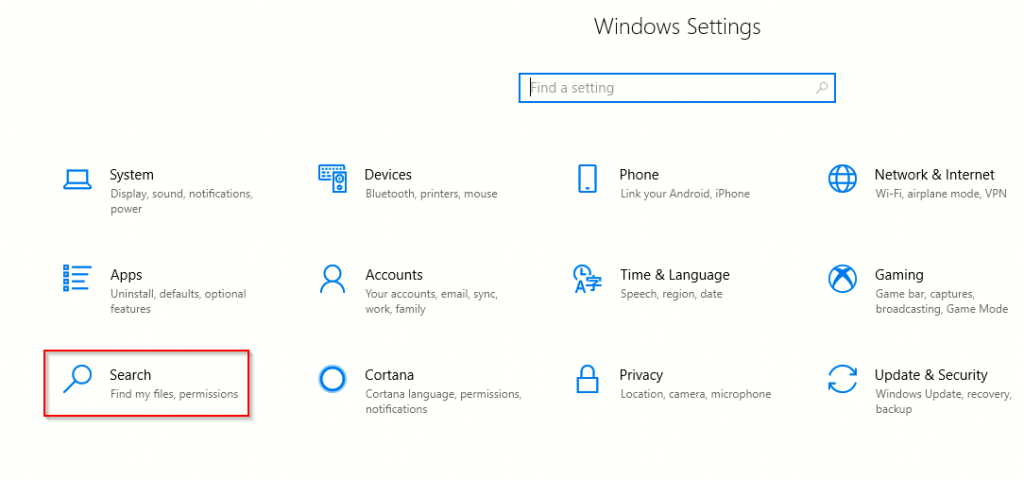 accessing Windows 10 search settings