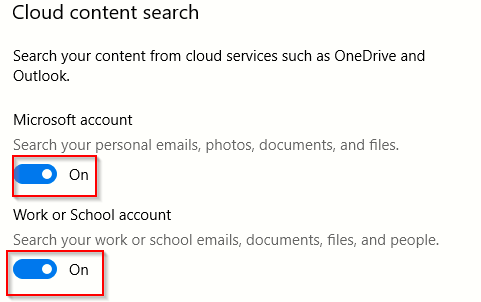 disable searching in personal accounts when using windows 10 search