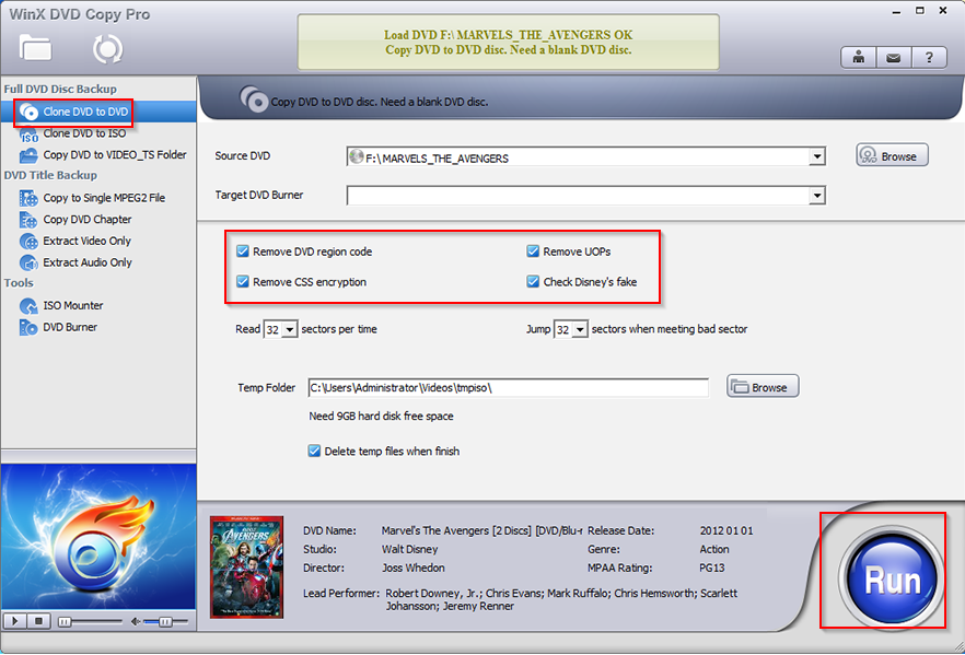 cloning DVD to DVD in WinX DVD Copy Pro