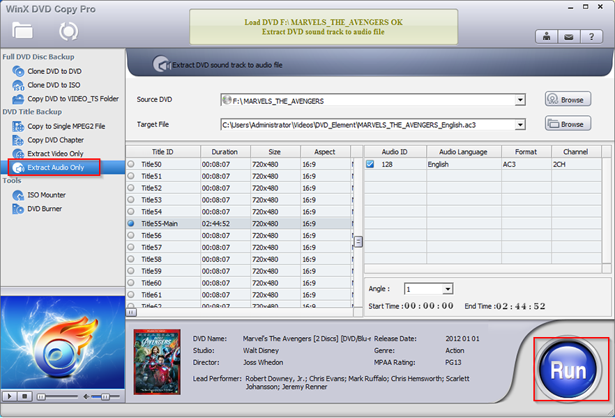 extract audio from source DVD using WinX DVD Copy Pro