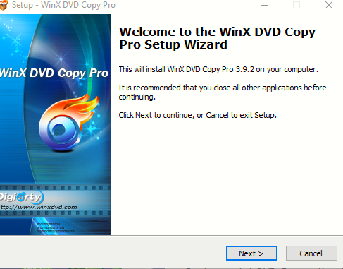 launching WinX DVD Copy Pro setup