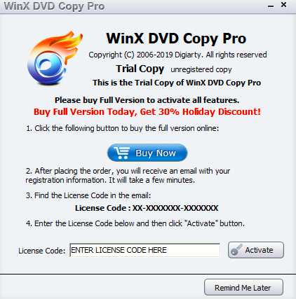 activating WinX DVD Copy Pro