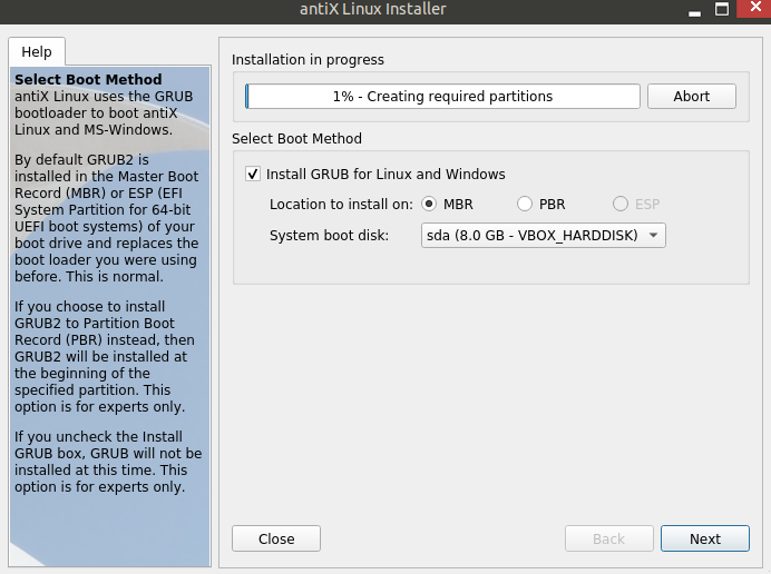 setting up partitions for antiX installation