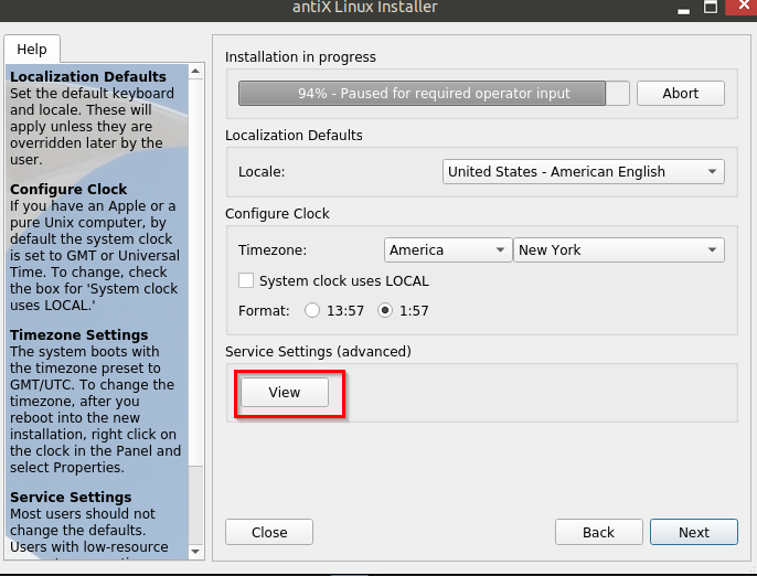 setting up locale, time zone and services during antiX installation