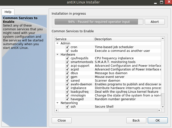 a list of system services that can be enabled or disabled during antiX installation