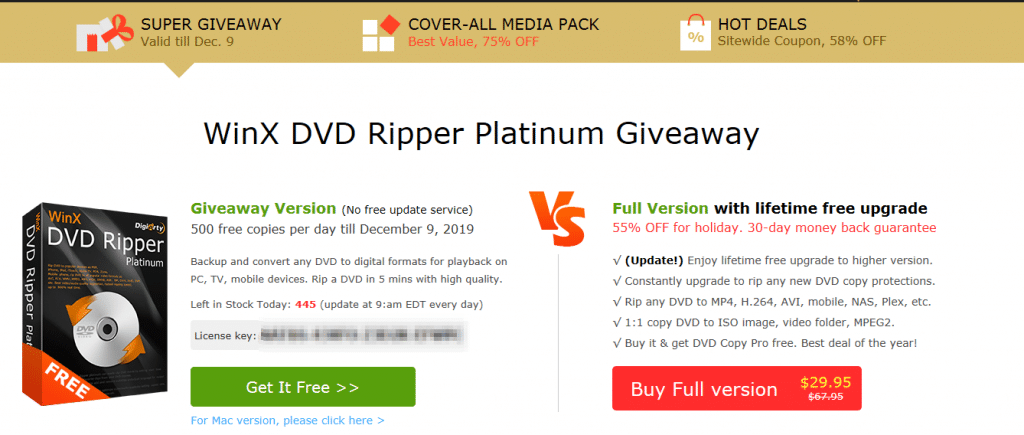 WinX DVD Ripper Platinum giveaway page for Black Friday sale 2019