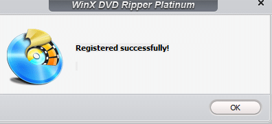 giveaway copy of WinX DVD Ripper Platinum registered successfully