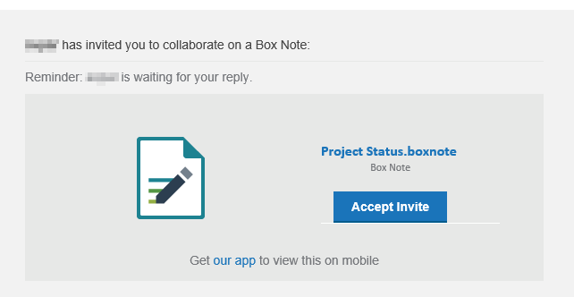 invitation to access and edit Box Notes