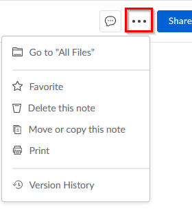 adding Box Notes to favorites, deleting and other choices