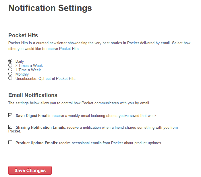 managing various pocket related notifications