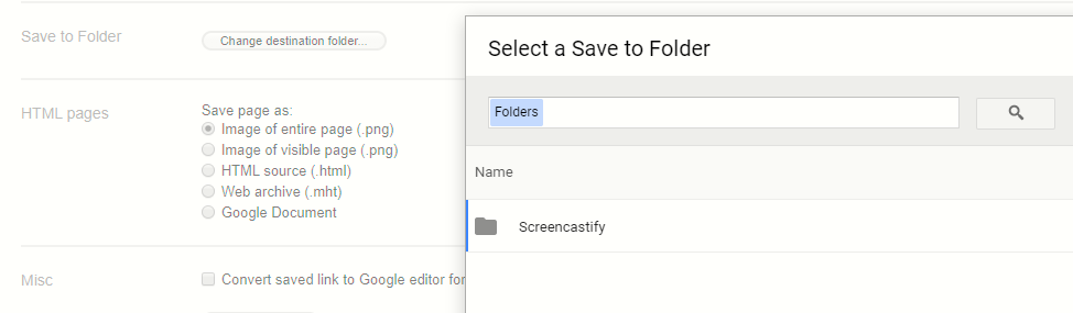 changing the destination folder where the web content will be saved in Google Drive with the Save To Google Drive extension