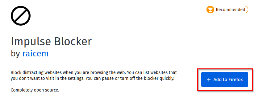 Impulse Blocker add-on page