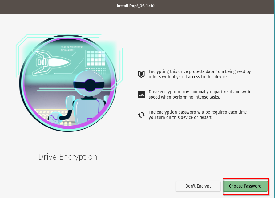 enabling drive encryption during Pop!_OS installation
