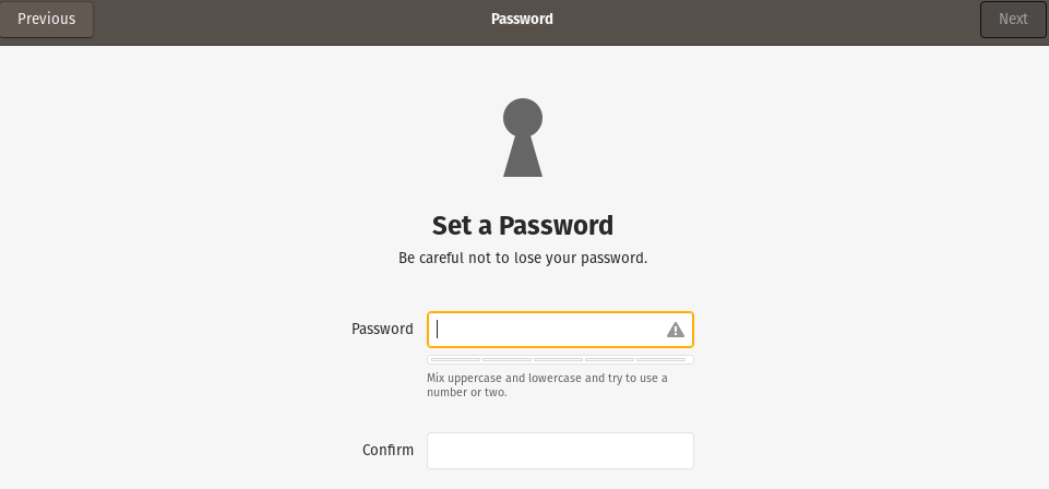 setting up a password during Pop!_OS installation
