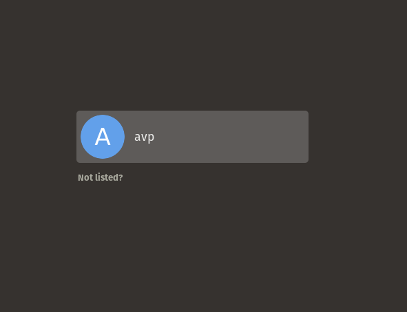 initial login screen in Pop!_OS