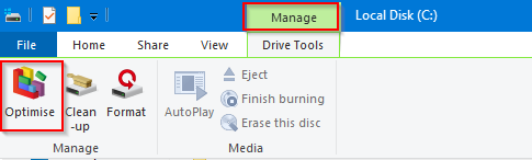 accessing defragmentation tool from File Explorer