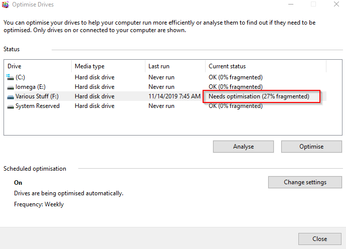 analysing drives for optimsation in Windows 10