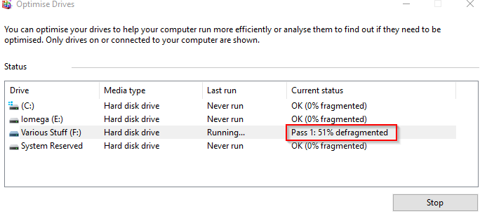 defragmenting drives and optimising them in Windows 10