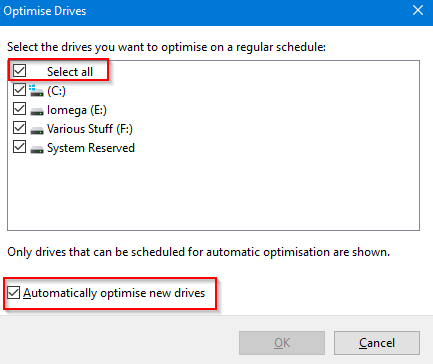 excluding specific drives and partitions from being auto optimised in Windows 10