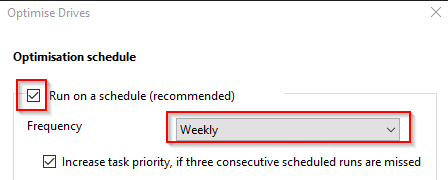change frequency for optimising drives in Windows 10 and managing task priority for it