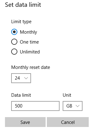 setting a data limit for metered connections in Windows 10